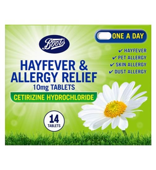 Boots Pharmaceuticals Hayfever & Allergy Relief 10mg Tablets Cetirizine Hydrochloride - 14 tablets