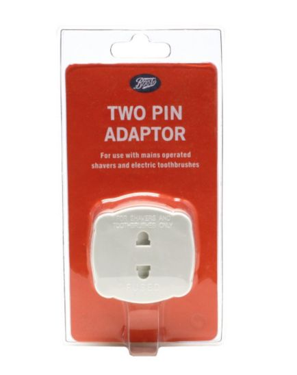 Boots Two Pin Plug Adaptor - 2 Pin Shaver or Toothbrush to 3 Pin Plug