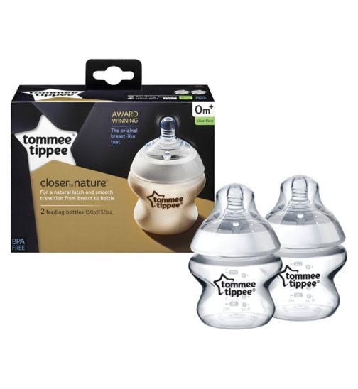 Tommee Tippee Closer to Nature Easivent Baby Feeding bottles 150ml - 2Pack