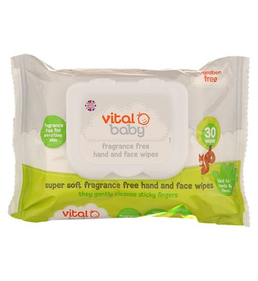 Vital Baby Fragrance Free Hand & Face Wipes - 1 x 30 Pack Wipes