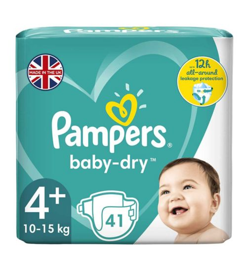 Pampers Baby-Dry Size 4+, 41 Nappies, 9kg-18kg, With 3 Absorbing Channels