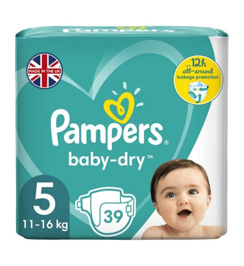 Pampers Baby-Dry Size 5, 39 Nappies, 11kg-23kg, With 3 Absorbing Channels