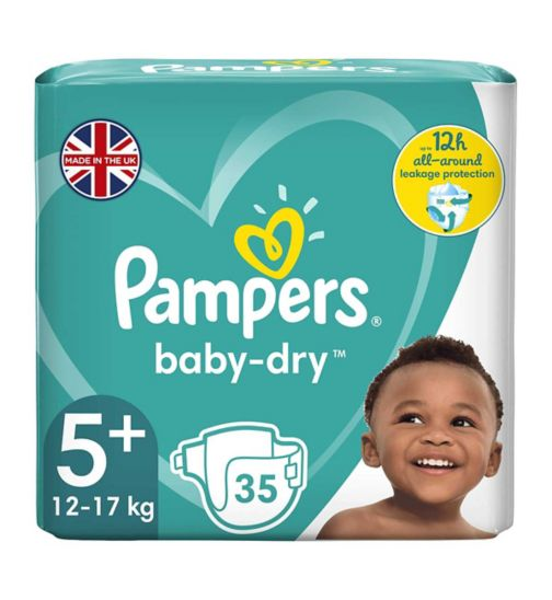 Pampers Baby-Dry Size 5+, 35 Nappies,13kg-25kg, With 3 Absorbing Channels