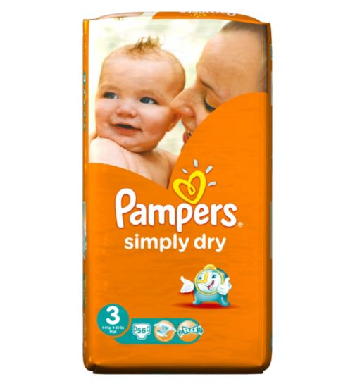 Pampers Simply Dry Nappies Size 3 Large Pack - 56 Nappies
