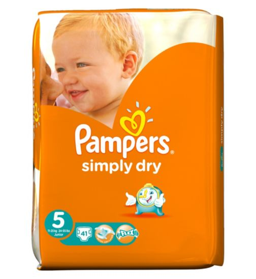 Pampers Simply Dry Nappies Size 5 Large Pack - 41 Nappies