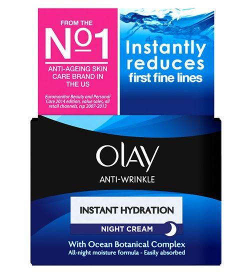 Olay Anti Wrinkle Instant Hydration Anti-Ageing Night Cream Moisturiser 50ml
