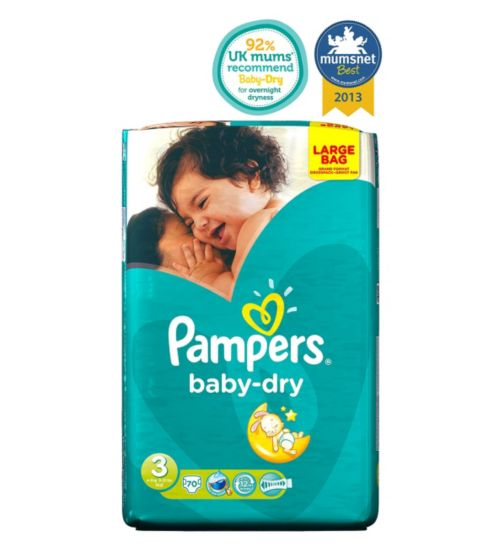 Pampers Baby-Dry Nappies Size 3 Large Bag - 70 Nappies