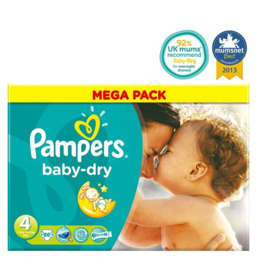 Pampers Baby-Dry Nappies Size 4 Mega Box - 86 Nappies