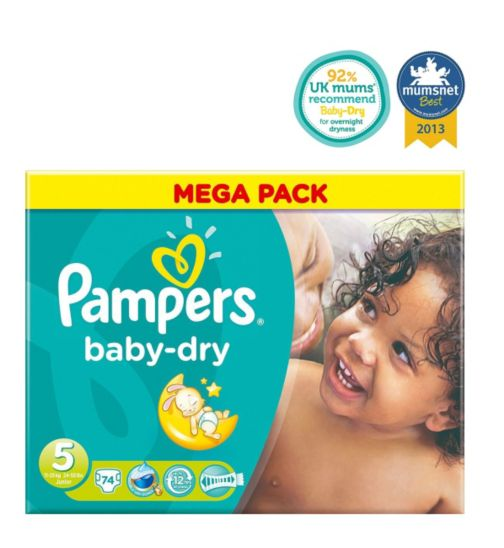Pampers Baby-Dry Nappies Size 5 Mega Box - 74 Nappies