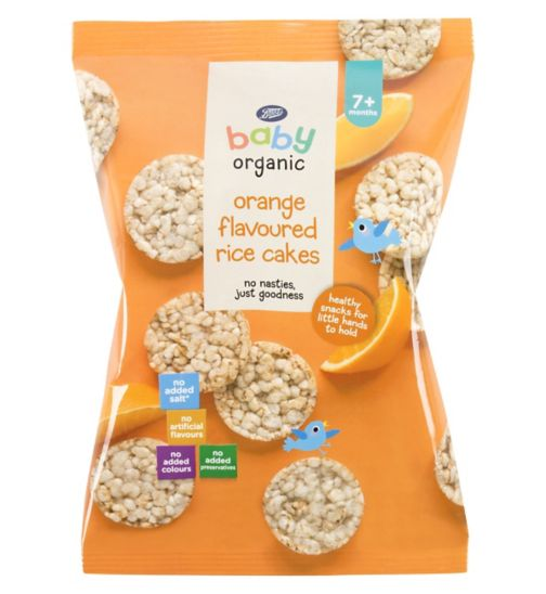 Boots Baby Organic Orange Flavoured Rice Cakes Stage 2/3 7/12months+ 50g