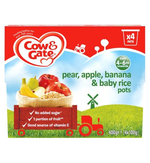 Cow & Gate Apple & Pear Fruity Dessert from 4-36 Months 4 x 100g