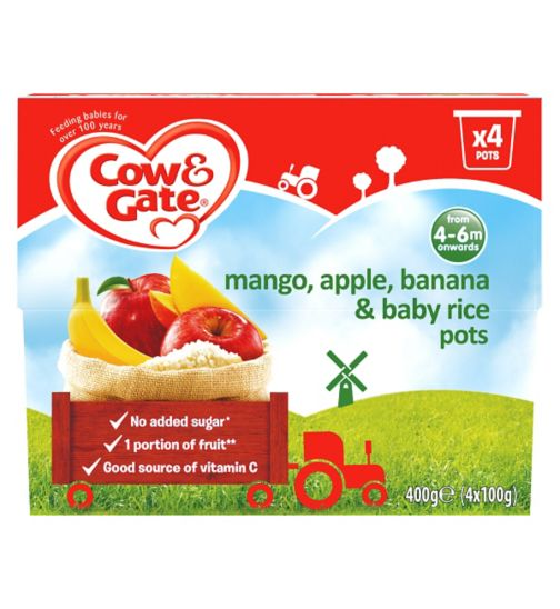 Cow & Gate Banana, Apple & Mango Fruity Dessert from 4-36 Months 4 x 100g