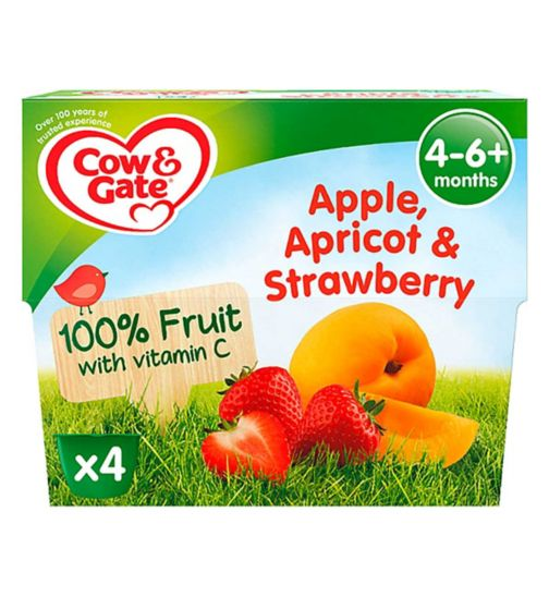 Cow & Gate Apple, Apricot & Strawberry 100% Fruit with Vitamin C from 4-36 Months 4 x 100g