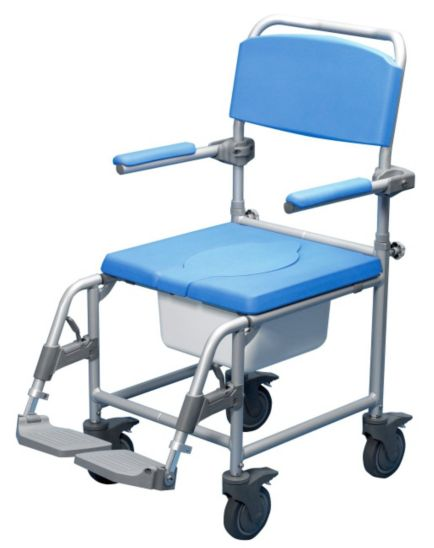 Homecraft Deluxe Wheeled Shower Commode Chair - Attendant Propelled