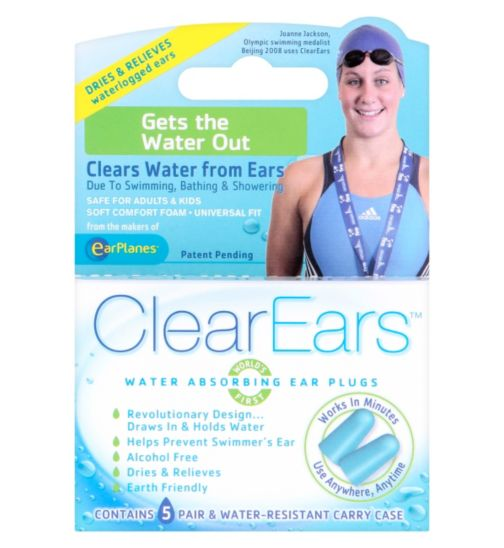 ClearEars Water Absorbing Ear Plugs - 5 Pairs