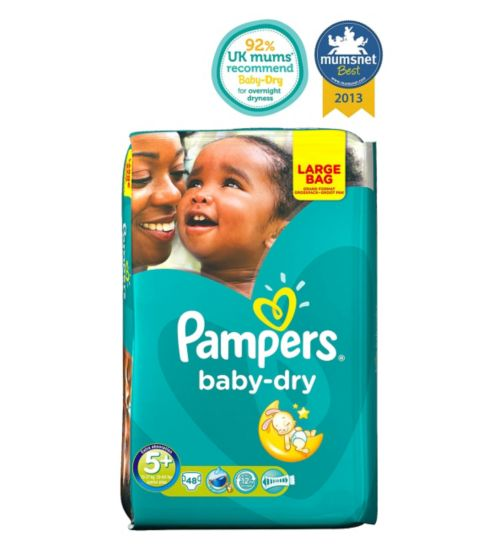 Pampers Baby-Dry Nappies Size 5+ Large Bag - 48 Nappies