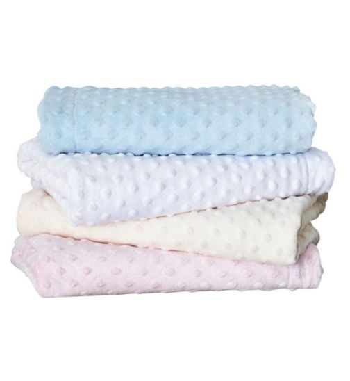 Clair de Lune Dimpled Fleece Baby Blanket 70 x 90cm - Blue