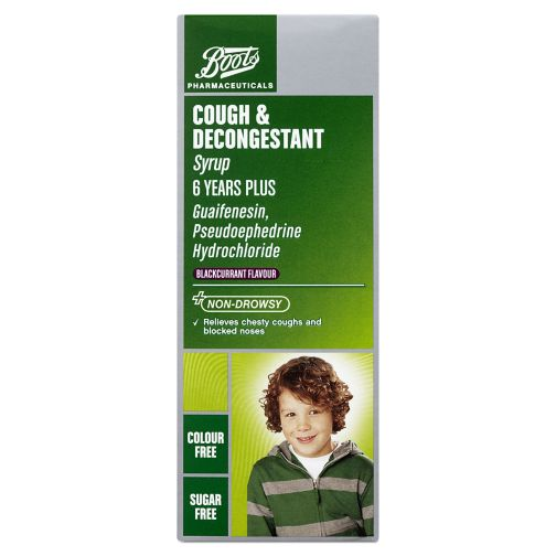 Boots Pharmaceuticals Cough and Decongestant Syrup 6 Years + - 100ml
