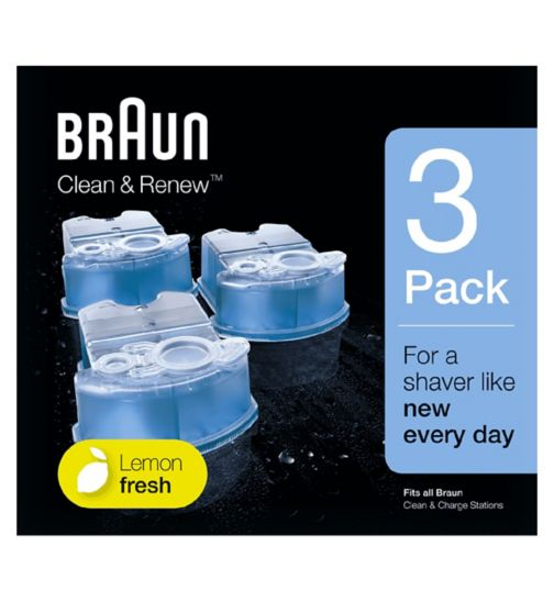 Braun Electric Shaver Clean & Charge Refill 3 pack