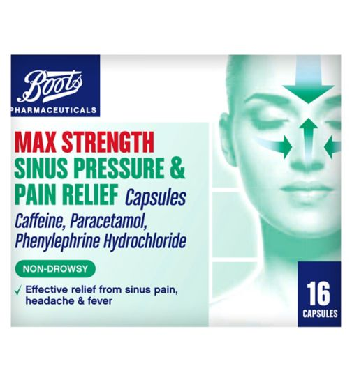 Boots Pharmaceuticals Max Strength Sinus Relief - 16 Capsules Caffeine, Paracetamol, Phenylephrine Hydrochloride