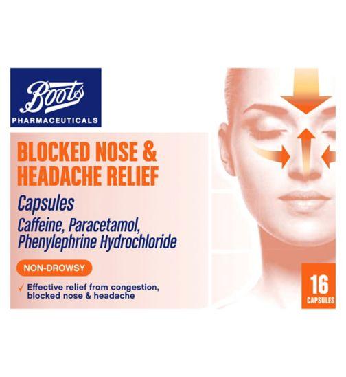 Boots Pharmaceuticals Blocked Nose & Headache Relief Capsules - 16 Capsules
