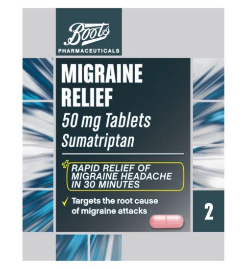 Boots Pharmaceuticals Migraine Relief 50mg Tablets - 2 Tablets Sumatriptan