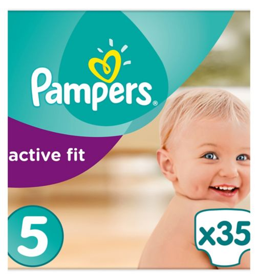 Pampers Active Fit Size 5, 35 Nappies, 11-23kg, With Magical Pods