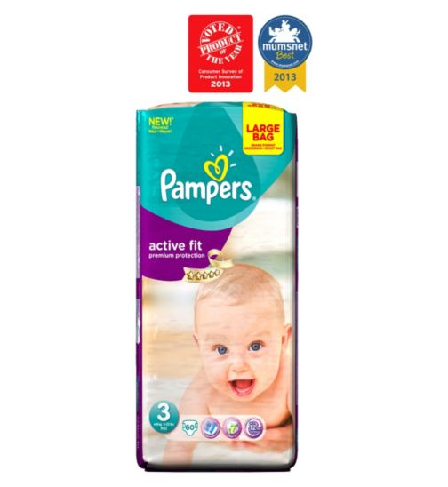 Pampers Active Fit Nappies Size 3 Large Bag - 60 Nappies
