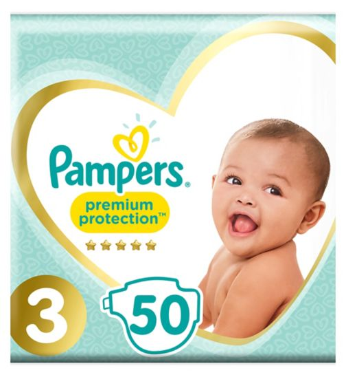 Pampers Premium Protection Size 3, 50 Nappies, 5-9kg