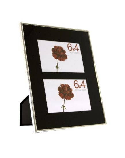 Black Glass & Metal Multi Aperture Photo Frame 6x4