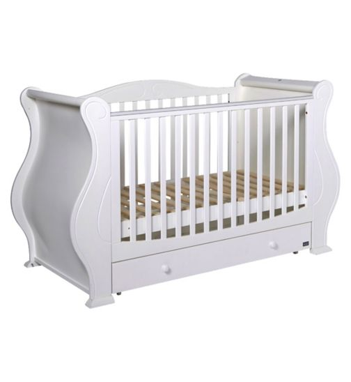 Tutti Bambini Louis Fix Side Sleigh Cot Bed With Drawer - White Finish