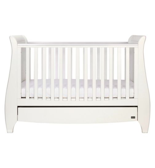 Tutti Bambini Lucas Sleigh Cot Bed - White Finish