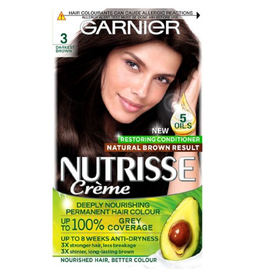 Garnier Nutrisse 3 Darkest Brown Permanent Hair Dye