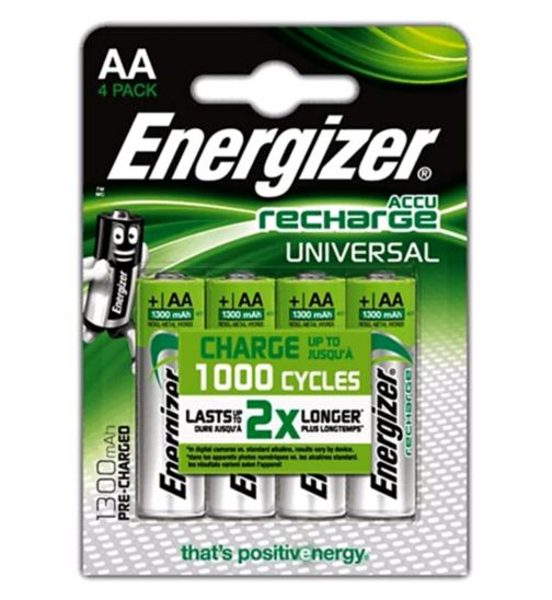 Energizer AA 1300MAH 4 pack rechargeable batteries
