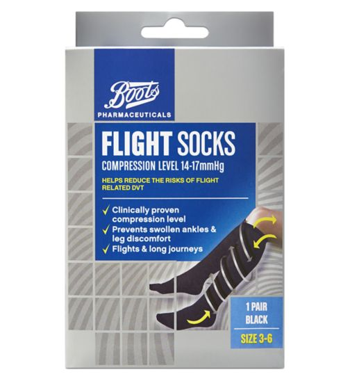Boots Flight Socks (14-17mmHg) Size 3-6- 1 Pair