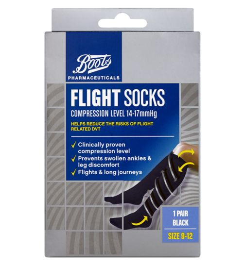 Boots Flight Socks (14-17mmHg) Size 9-12- 1 Pair