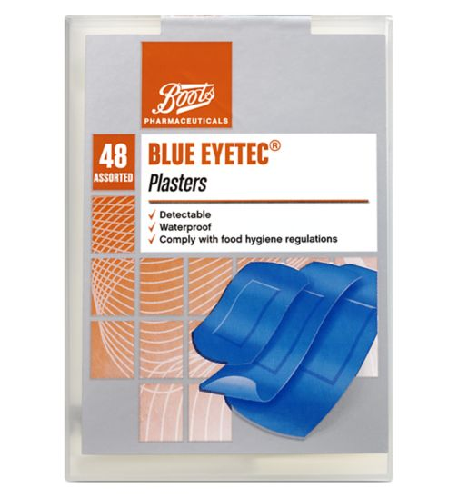 Boots Blue Eyetec Waterproof Plaster (Pack of 48 Assorted)