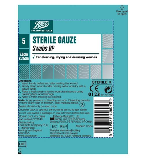 Boots Sterile Swabs BP (7.5cm x 7.5cm)- Pack of 5