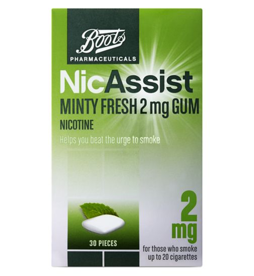 Boots Pharmaceuticals NicAssist 2mg Minty Fresh Gum  - 30 pieces