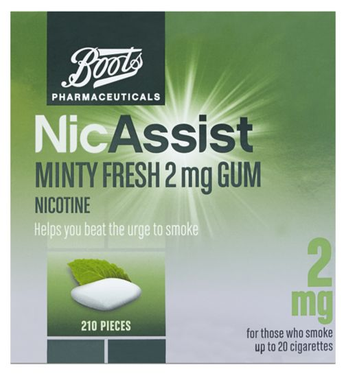 Boots Pharmaceuticals NicAssist Minty Fresh 2 mg Gum - 210 Pieces