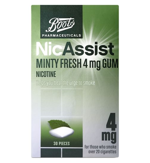 Boots Pharmaceuticals NicAssist Minty Fresh 4 mg Gum - 30 Pieces