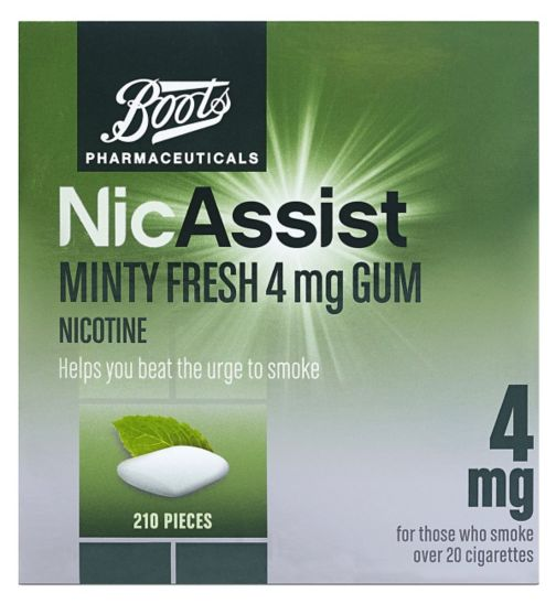 Boots Pharmaceuticals NicAssist Minty Fresh 4mg Gum - 210 Pieces