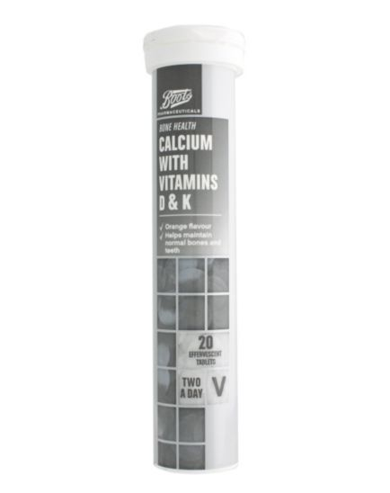 Boots Calcium with Vitamins D & K (20 Effervescent Tablets)