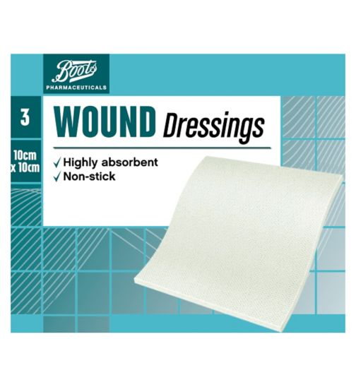Boots Wound Dressing Pads 10cm x 10cm (Pack of 3)