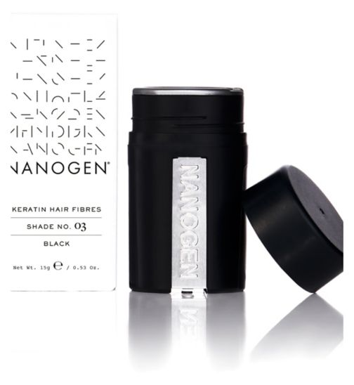 Nanogen Hair Thickening Keratin Fibres - Black 15g (1 month supply)