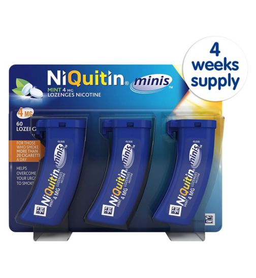 NiQuitin Minis 4mg Lozenges (Mint) - 4 Weeks Supply