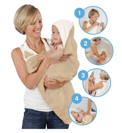 Cuddledry® Bathing Apron - Oatmeal and White