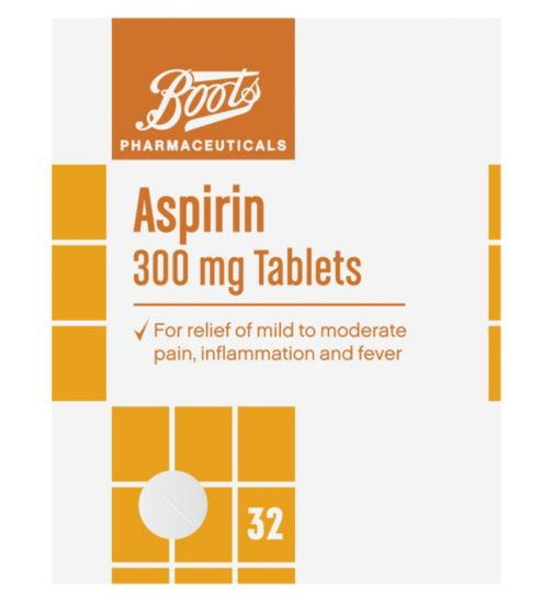 Boots Pharmaceuticals Aspirin 300mg Tablets - 32 Tablets