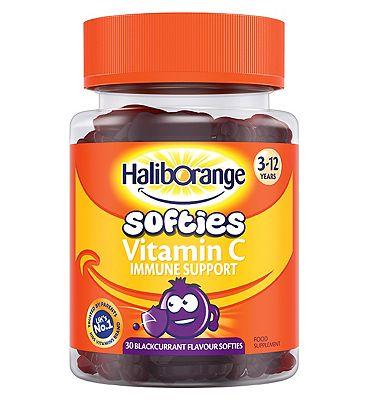 Haliborange Kids Vitamin C Immune Softies - 30 blackcurrent fruit shapes