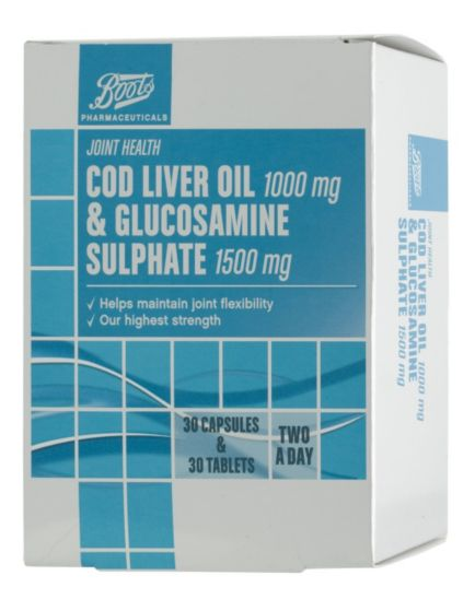Boots Pharmaceuticals Cod Liver Oil 1000mg & Glucosamine Sulphate 1500mg (30 Capsules & 30 Tablets)